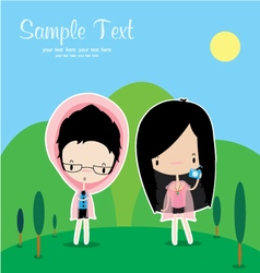 Cute cartoon people vector image