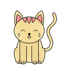Cute scribble cat cartoon vector
