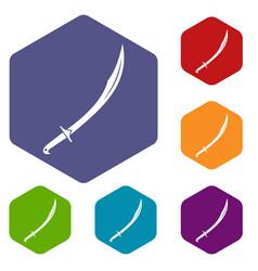 Cutlass icons set hexagon vector