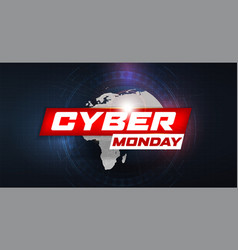cyber monday sale banner hud style futuristic vector image