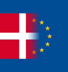 Denmark national flag with a star circle of eu vector