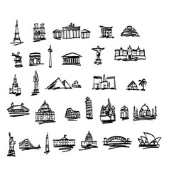 Doodle landmarks and famous places in the world vector