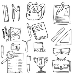 Doodle of school supplies book paper ruler vector
