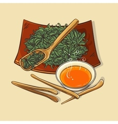 Dry tea with tea tools and tea bowl vector