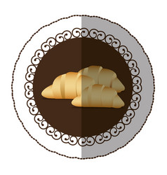 emblem color croissant bread icon vector image