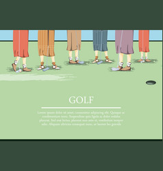 females golfer feets on golf course vector image