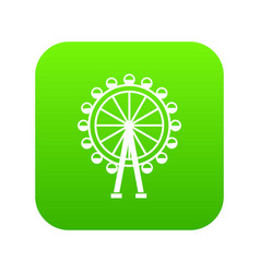 ferris wheel icon digital green vector image