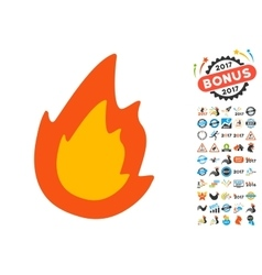Fire icon with 2017 year bonus pictograms vector