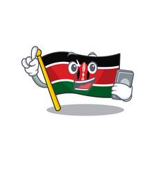Flag kenya with holding phone cartoon vector