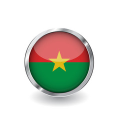 flag of burkina faso button with metal frame and vector image