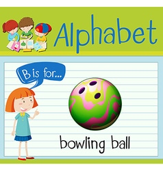 Flashcard letter B is for bowling ball vector image