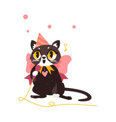 Flat cat character singing in microphone vector
