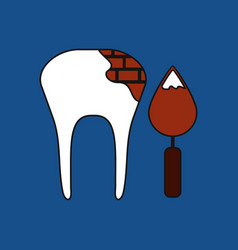 Flat icon design collection tooth with tool vector