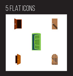 flat icon door set of frame entrance wooden vector image