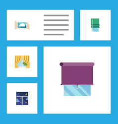 Flat icon window set of cloud glass frame vector