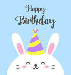 funny cartoon card with hare happy birthday vector image