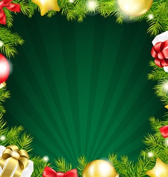 Green Xmas Sunburst Color Card vector image
