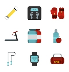 Gym icons set flat style vector image