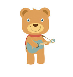 happy cute brown teddy bear playing guitar in vector image