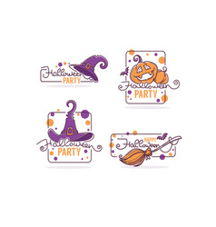 happy halloween party logo collectios with hand vector image