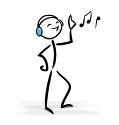 happy man with headphones listening to music vector image