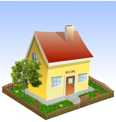 House in the yard with tree and grass vector image