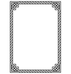 irish celtic ractangle frame design vector image