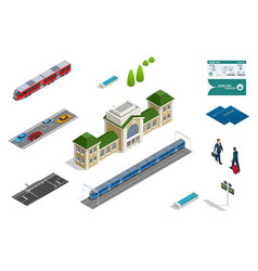 Isometric set railroad objects buildings vector