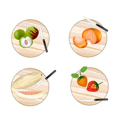 Jujube Persimmon Melon and Strawberry vector