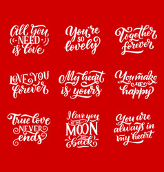 love quotes lettering calligraphy vector image