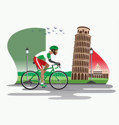 man cycling in italy with pisa tower as background vector image