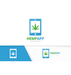marijuana leaf and phone logo combination vector image
