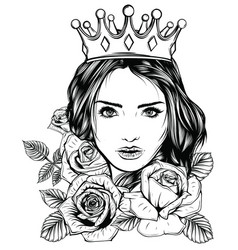 Monochromatic magic woman tattoo and t-shirt vector