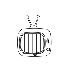 Monochrome contour of tv set vector