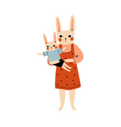 mother bunny and her kid loving parent animal and vector image