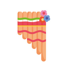 musical pan flute instrument mexico icon vector image
