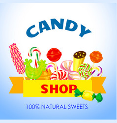 natural candy shop concept background cartoon vector image
