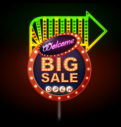 neon sign big sale open vintage electric signboard vector image