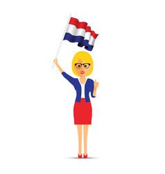 netherlands flag waving woman vector image