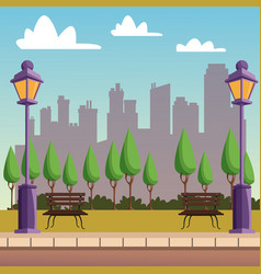 Park with cityscape vector