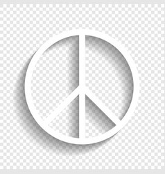 peace sign white icon with vector image