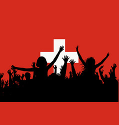 people silhouettes celebrating switzerland vector image