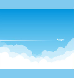 plane flying above clouds vector image