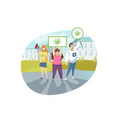 protest activist legalization marijuana vector image