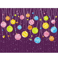 purple card with christmas garland vector image