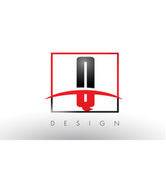Q logo letters with red and black colors vector
