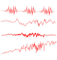 red sound waves set screen of equalizer vector image