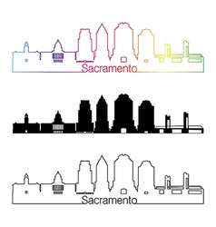 Sacramento V2 skyline linear style with rainbow vector
