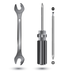 Screwdriver and Wrench Object tool isolated on vector image