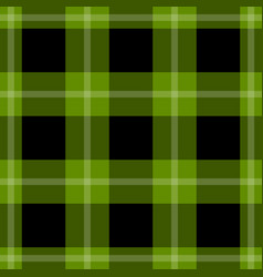 seamless black green tartan with white stripes vector image